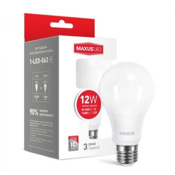 Лампа світлодіодна Maxus A65 (12W, 3000K, 220V, E27)