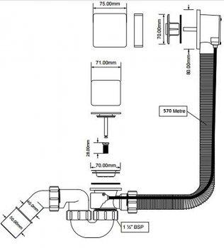 Сифон пластиковый для ванны McALPINE автомат полнопроходный с латунной накладкой 1 1/2х40/50 мм (5036484500328)