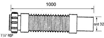 Патрубок пластиковый McALPINE с гайкой 1 1/4х32/1000 мм универсальный гибкий (5036484500489)