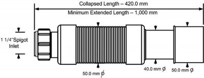 Патрубок пластиковый McALPINE с гайкой 1 1/4х40/50/1000 мм универсальный гибкий (5036484027863)