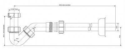 Сифон пластиковый для биде McALPINE без слива c трубой и розеткой 1 1/4х32 мм (5036484009203)