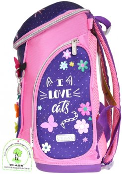 Ранець Class Cute Cat 38 х 27 х 18 см 18 л Рожево-фіолетовий (9955/8591662995503)