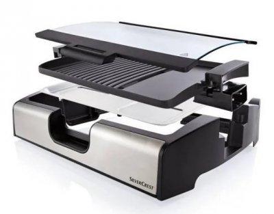 Контактний гриль електричний Silver Crest STGG 1800 A1, антипригарне покриття, чорний з сріблястим