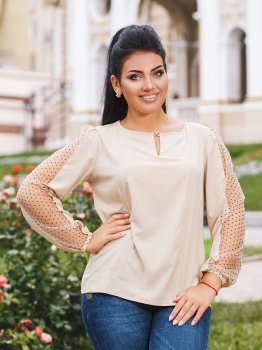 Блуза DNKA р4198/1 Бежева