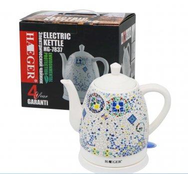 Чайник керамический с принтом Haeger HG-7837 дисковый