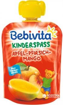Упаковка фруктового пюре Bebivita Яблуко-персик-манго з 12 місяців 90 г х 16 шт. (4018852017349_4018852021346)