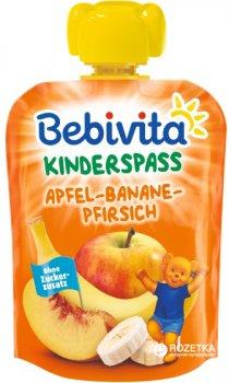 Упаковка фруктового пюре Bebivita Яблуко-банан-персик з 12 місяців 90 г х 16 шт. (4018852017288)