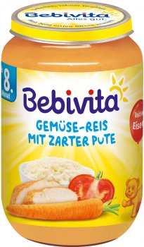 Упаковка овочево-м'ясного пюре Bebivita Овочі та рис з ніжною індичкою 220 г х 6 шт. (4018852010449)