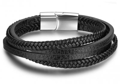 Мужской кожаный браслет Primo Rope с магнитной застежкой - Silver Primo BA101881 черный