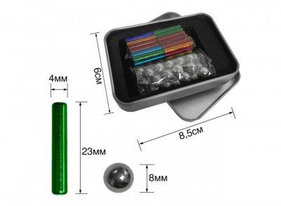 Магнитный конструктор набор палочек и шариков Neo MIX COLOR 64 детали Радужный