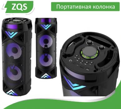 Портативна Бездротова Bluetooth колонка+світломузика, мікрофон і пульт ДУ, ZQS-6201 (Yunfeng)