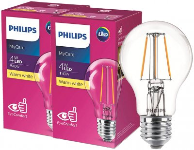 Світлодіодна лампа Philips Filament LED Classic 4-40 W A60 E27 830 CL NDAPR 2 шт. (929001974708F)