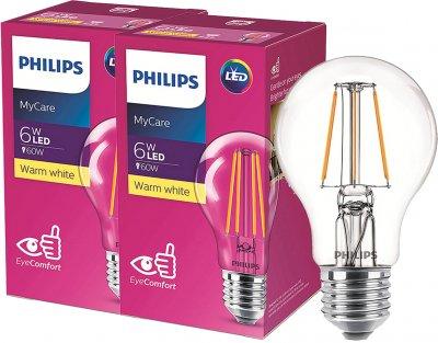 Светодиодная лампа Philips Filament LED Classic 6-60W A60 E27 830 CL NDAPR 2 шт (929001974508F)