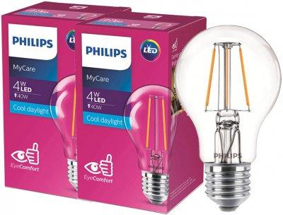 Світлодіодна лампа Philips Filament LED Classic 4-40 W A60 E27 865 CL NDAPR 2 шт. (929001974808F)