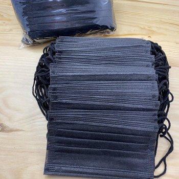 Маска медицинская (50 шт упаковка) одноразовая черная с фиксатором Украина (3123)