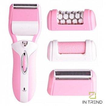 Электробритва эпилятор GM52 женский хороший для депиляции и пилинга в зоне бикини ног пяток в домашних условиях – триммер с 3мя насадками для удаления волос с тела раздражений, Розово-белый