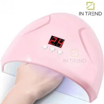 Лампа для маникюра FD 258 Beauty nail 36w компактная универсальная UV / Led - УФ сушка для гель лака ногтей полимеризации с технологией двойного источника света до 90 секунд - съемное дно+ дисплей, Розовый