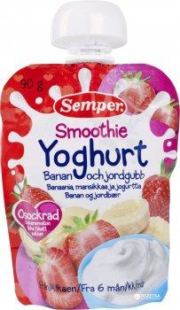 Упаковка фруктового пюре Semper Смузі з банана та полуниці з йогуртом з 6 місяців 90 г х 12 шт. (17310100701852)