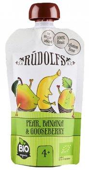 Упаковка фруктово-ягідного органічного пюре Rudolfs Смузі груша-банан-аґрус 110 г х 6 шт. (14751017940928)