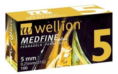Иглы Медфайн Wellion Medfine Plus для инсулиновых шприц-ручек 5 мм (31G x 0,25 мм)