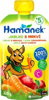 Упаковка фруктово-овочевого пюре Hamanek яблучно-морквяне 120 г х 8 шт. (8595139790516)