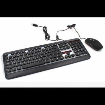 Комплект дротова клавіатура ігрова LED і миша HK3970 Чорна