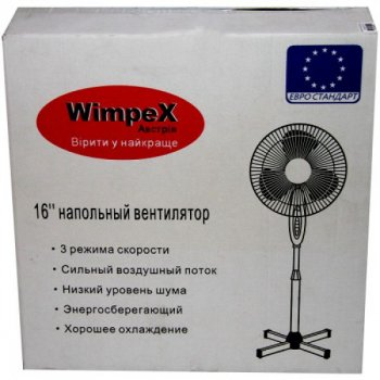 Вентилятор підлоговий побутовий розбірної 3-лопатевий діаметром 43 см WIMPEX WX-1611 100 Вт Black