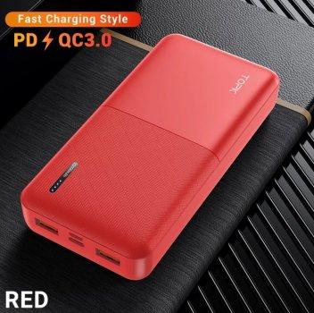 Зарядний пристрій Power Bank TOPK Швидка зарядка QC 3.0 20000 mAh Червоний