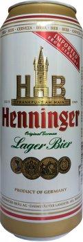 Упаковка пива Henninger Lager светлое фильтрованное 4.8% 0.5 л x 24 шт (4053400104713)