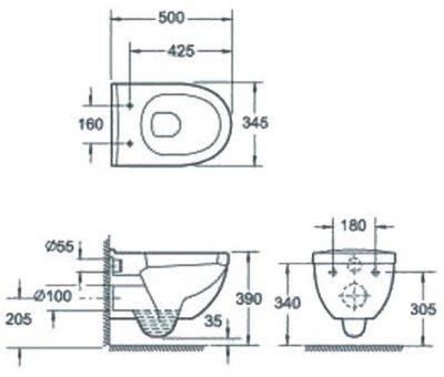 Унітаз підвісний DEVIT Project 3120147 із сидінням Soft Close дюропласт