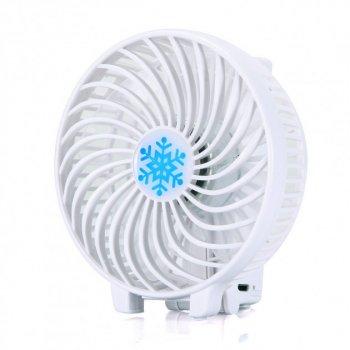 Вентилятор акумуляторний міні діаметр 10 см з ручкою USB Handy Mini Fan білий