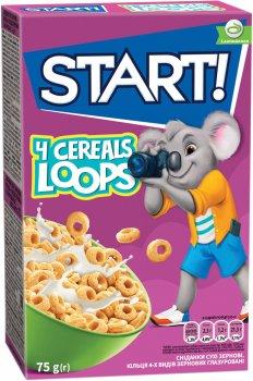Упаковка сухого завтрака Start кольца глазированные с зернами 4 видов 75 г х 24 шт (4820008123855)