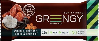 Упаковка батончиков Greengy Финики, Шоколад, Кокос И Миндаль 26 г х 12 шт (4820221320475)