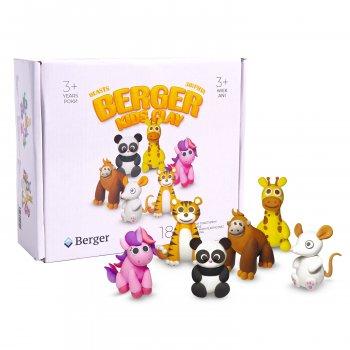 Набор пластилина Berger Kids Clay Животные 18 баночек 580 г Разноцветный (Beasts 01-18) (8596165040194) подарок подписка на 1 месяц YOU TV 320+ телеканалов