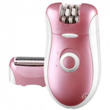 Эпилятор женский 2в1 - Электрический хороший безболезненный эпилятор с 2 насадками электробритва для депиляции тела ног бикини – Лучший триммер для удаления волос - сухая эпиляция, Розовый