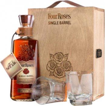 Бурбон Four Roses Single Barrel 0.7 л 50% в деревянной коробке + 2 стакана (2135503355031)