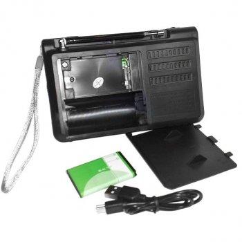 Портативный радио приёмник Golon RX-1315 (принимает флешки) с фонариком Черный