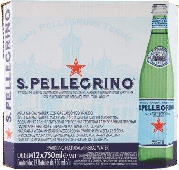 Упаковка минеральной газированной воды S.Pellegrino 0.75 л х 12 бутылок (8002270023590)