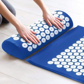 Коврик + подушка (валик) аппликатор Кузнецова Массажный массажер для спины/ног OSPORT (apl-011) Сине-белый