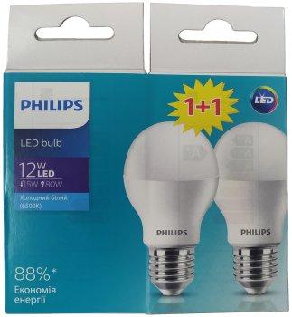 Світлодіодна лампа Philips LED Bulb A60 12 Вт 6500 K E27 230 В 2 шт. (9290019550072)