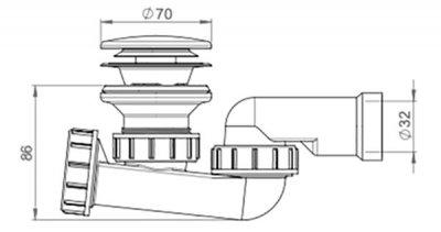 Сифон для душевого поддона PREVEX 52 мм клик-клак со сливной трубой 32 мм (3212007)