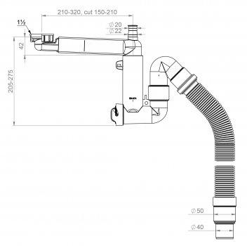 Сифон для кухонной мойки PREVEX Smartloc 40/50 мм c накидной гайкой (41N03910)