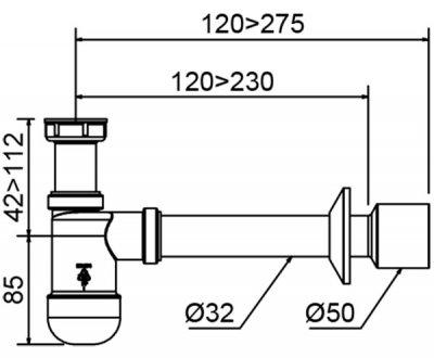 """Сифон для раковины PREVEX Basic c накидной гайкой 5/4"""" со сливной трубой 32/50 мм (PR3-B4N35-001)"""