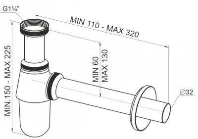 """Сифон для раковины PREVEX c накидной гайкой 5/4"""" со сливной трубой 32 мм латунный (A12032M-01)"""
