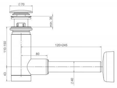 Сифон для раковины PREVEX EasyClean 40 мм клик-клак с переливом металл золотой (1512417)