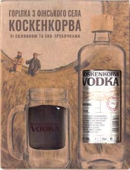 Набор Водка Koskenkorva 0.7 л 40% + 10 трубочек+ стакан (6412700317205)