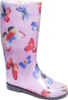 Резиновые сапоги OLDCOM Бабочка на розовом фоне