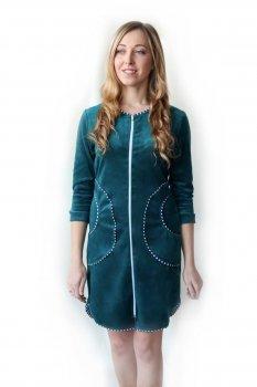 Женский велюровый халат Amelino Elite на молнии. Темно зеленый