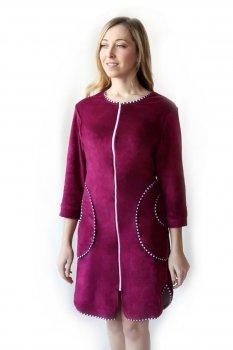 Женский велюровый халат Amelino Elite на молнии. Бордовый