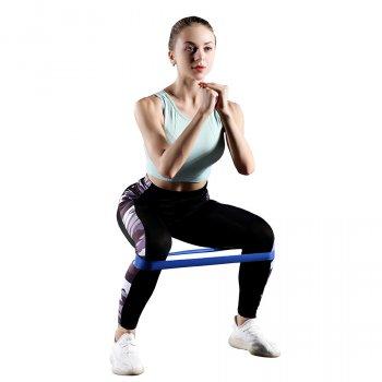 Фітнес гумки для тренувань Loop Bands гумки для фітнесу сині комплект 5 шт + мішечок - стильні Стрічки